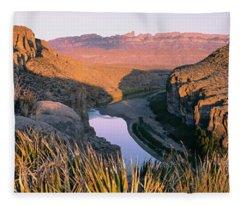 River Passing Through Mountains, Big Fleece Blanket
