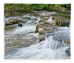 River Swale Waterfalls At Richmond, Yorkshire Fleece Blanket