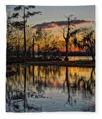 Riverside Sunset Fleece Blanket