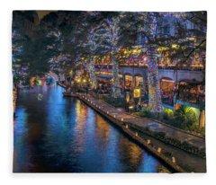 Riverwalk Christmas Lights Fleece Blanket