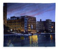 Riverwalk Nocturne Fleece Blanket