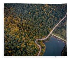Road Inside The Forest Fleece Blanket