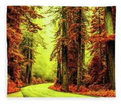 Road Through The Red Forest Fleece Blanket