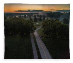 Road To Fog Fleece Blanket