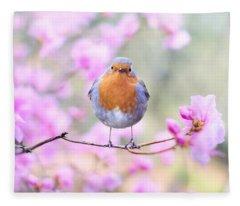 Robin On Pink Flowers Fleece Blanket