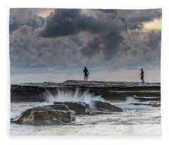 Rock Ledge, Spear Fishermen And Cloudy Seascape Fleece Blanket