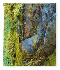Rock, Moss, And Ferns Fleece Blanket
