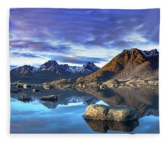 Rock Reflection Landscape Fleece Blanket