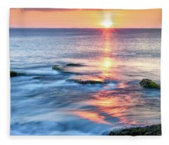 Rockport Pastel Sunset Ma. Fleece Blanket