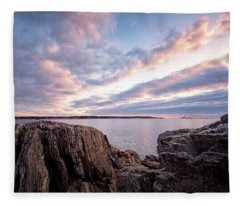 Rocky Coast At Daybreak . Fleece Blanket