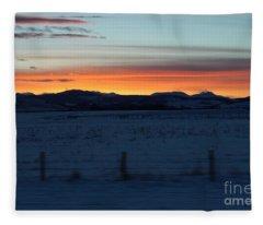 Rocky Mountain Sunset Fleece Blanket