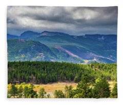 Rocky Mountains - Green Fleece Blanket