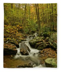 Rocky Stream Vertical Fleece Blanket