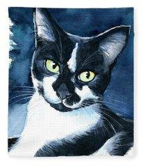 Rollie Tuxedo Cat Painting Fleece Blanket