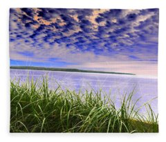 Rolling Blue Sky Over Lake Superior Fleece Blanket