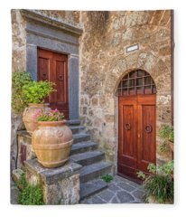 Romantic Courtyard Of Tuscany Fleece Blanket
