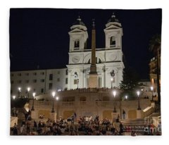 Rome Spanish Steps At Night Fleece Blanket
