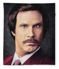 Ron Burgundy Fleece Blanket