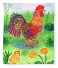 Rooster And Little Chicken Fleece Blanket