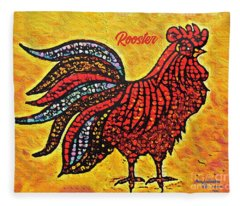 Rooster In The Moring Fleece Blanket