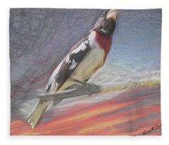 Rose-breasted Grosbeak Pearching. Fleece Blanket