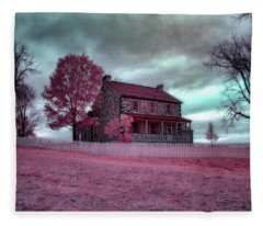 Rose Farm In Infrared Fleece Blanket