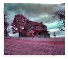 Rose Farm In Infrared Fleece Blanket