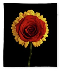 Rose On Yellow Flower Black Background Fleece Blanket