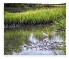 Roseate Spoonbill - Feeding Fleece Blanket