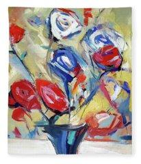 Roses And Bluez Fleece Blanket