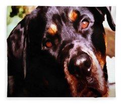 Rottweiler Artistic Pet Portait Fleece Blanket