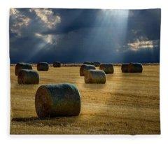 Round Bales Fleece Blanket
