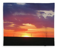 Round Barn Sunset Fleece Blanket