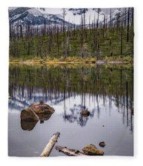 Round Lake Reflection Fleece Blanket