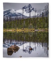 Round Lake Reflection Fleece Blanket