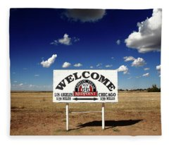 Route 66 - Midpoint Sign 2010 Bw Fleece Blanket