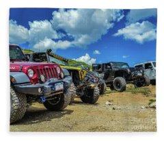Row Of Jeeps Fleece Blanket
