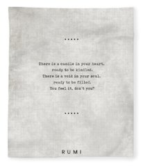 Rumi Quotes 11 - Literary Quotes - Typewriter Quotes - Rumi Poster - Sufi Quotes - Heart And Soul Fleece Blanket