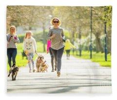 Running With Her Dog In The Park Fleece Blanket