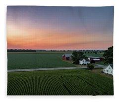 Rural Pastel Sunrise Fleece Blanket