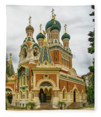 Russian Orthodox Cathedral Nice France Exterior Fleece Blanket