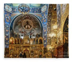 Russian Orthodox Cathedral Nice France Interior Fleece Blanket