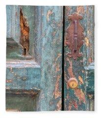 Rustic Green Door Of Cortona Fleece Blanket