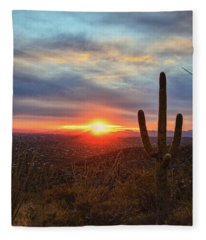 Saguaro Cactus And Tucson At Sunset Fleece Blanket