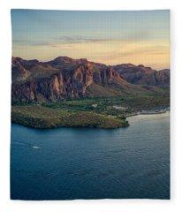 Saguaro Lake Mountain Sunset Fleece Blanket