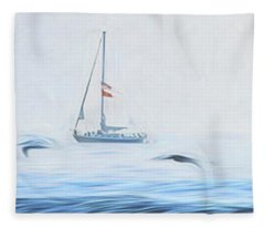Sailboat Beyond The Surf Fleece Blanket