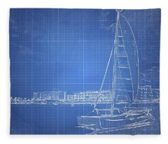Sailboat Blueprinted Fleece Blanket