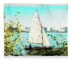 Sailboat On The River Watercolor Fleece Blanket