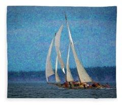 Sailboat Painting 16 Fleece Blanket