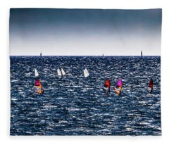 Sailboat Racing In The Mediterranean Fleece Blanket